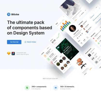 Blöcke: une collection d'interfaces web design et minimalistes pour Sketch et Figma