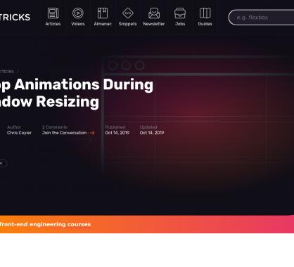 Stopper une animation en cas de redimensionnement de la fenêtre