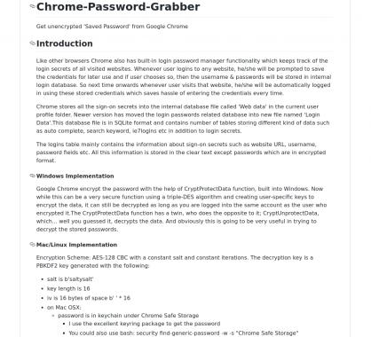 Chrome-Password-Grabber: récupérez les mots de passes décryptés stockés dans Chrome