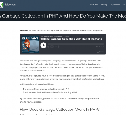 Comment fonctionne la Garbage Collection en PHP ?