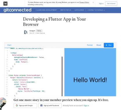 Développer son application Flutter dans le navigateur
