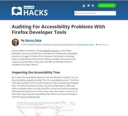 Auditer les problèmes d'accessibilité avec la Firefox Developer Tools