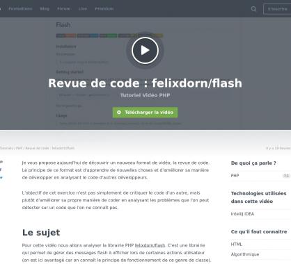 Une vidéo de revue de code PHP pour apprendre à partir des libs open source