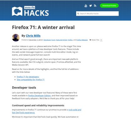 Firefox 71 : les nouveautés Developer Tools, CSS et Javascript du navigateur