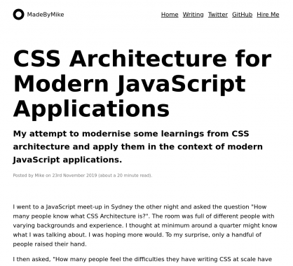 Architectures CSS dans des applications javascript modernes