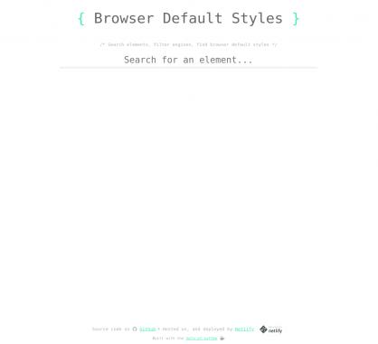 Une liste des styles par défaut des éléments HTML par navigateurs