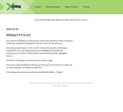 Xdebug 2.9.0 est dispo avec une amélioration des performances de 250% vs la 2.7