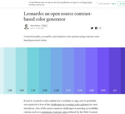 Leonardo: un générateur de palette de couleurs avec contraste idéal et accessible