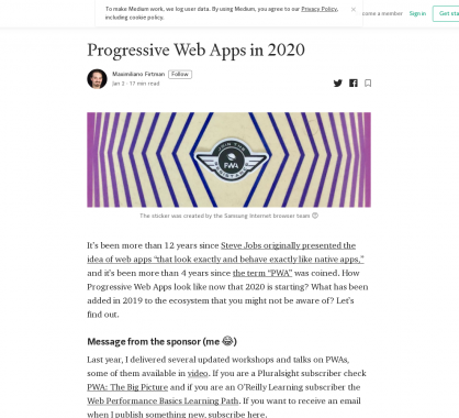 Les Progressive Web Apps en 2020