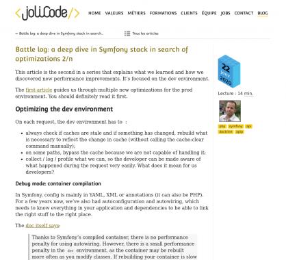 Optimisation d'une application Symfony: focus sur l'environnement de dev