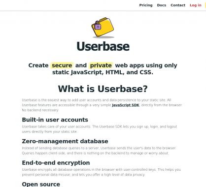 Userbase: ajoutez un système de gestion d utilisateurs sur vos apps Javascript statiques