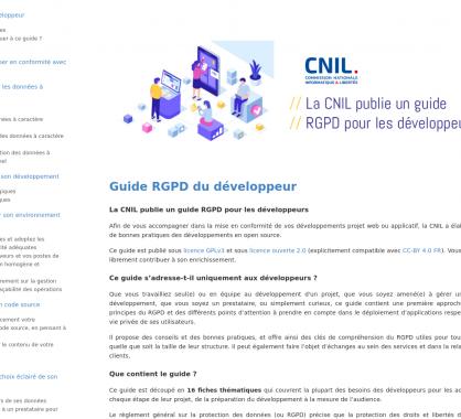 La CNIL publie un guide RGPD à destination des développeurs