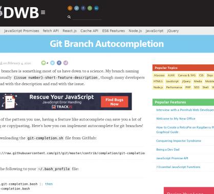 Autocomplétion de branche GIT