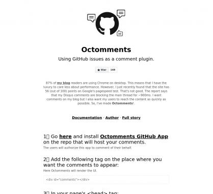 Octomments: un plugin de commentaires basé sur vos issues Github