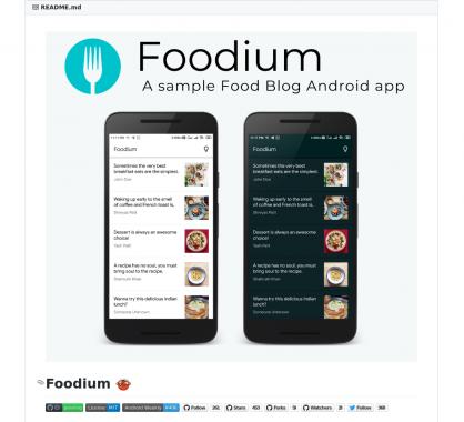 Foodium : le code source d'une app Android native qui utilise des technos modernes