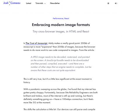 Utiliser les formats d'intégration HTML d'images modernes