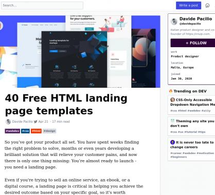 40 templates HTML de landing page gratuits